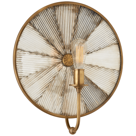 Rivington Large Round Sconce in Natural Brass with Ribbed Mirror