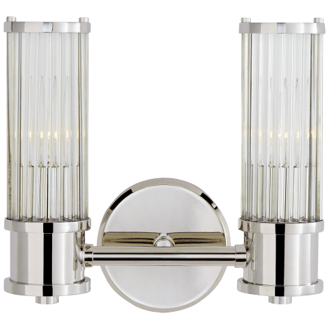 Allen Double Sconce in Polished Nickel and Glass Rods