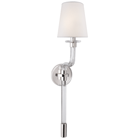 Parker Single Sconce in Polished Nickel with Silk Shade