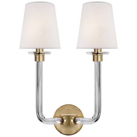 Parker Double Sconce in Natural Brass with Silk Shade