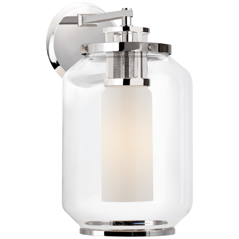 Upton Large Sconce in Polished Nickel with Clear and White Glass