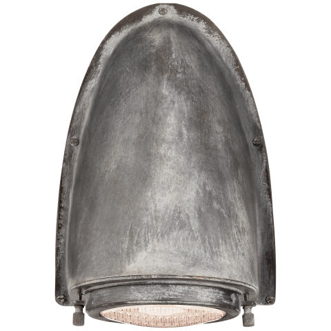 Grant Large Sconce in Weathered Zinc with Industrial Prismatic Glass