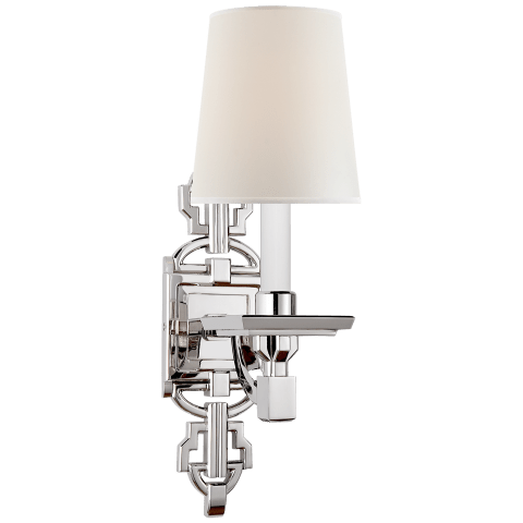 Evanna Sconce in Polished Nickel with Percale Shade