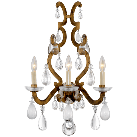 Marie Sconce in Gilded Iron with Crystal, Quartz, and Glass
