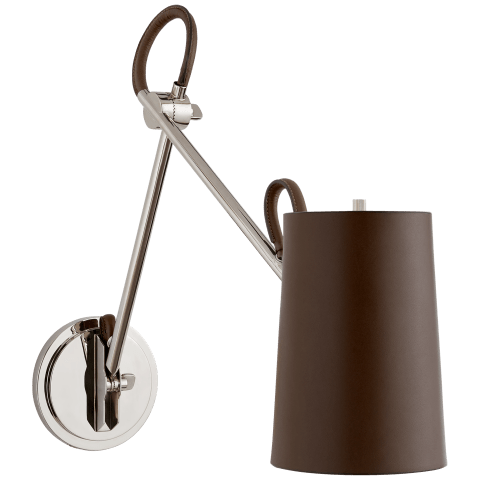 Benton Double Library Sconce in Polished Nickel with Chocolate Leather Shade