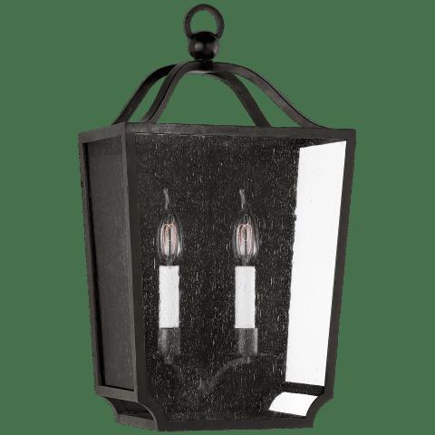 Beatrice Medium 3/4 Wall Lantern in Aged Iron with Restoration Glass