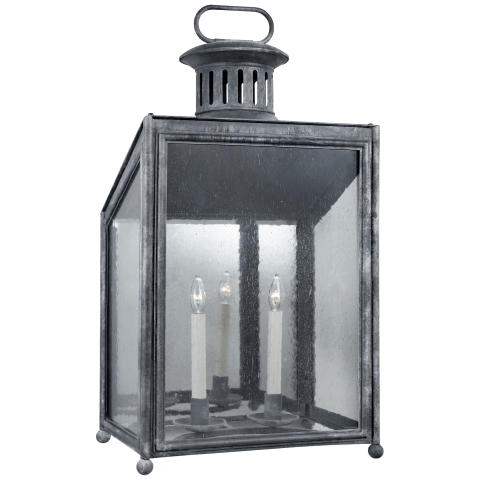 Mills Large Wall Lantern in Garden Zinc with Restoration Glass