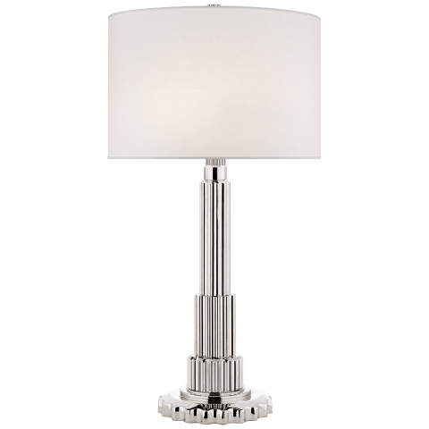 Briggs Table Lamp in Polished Nickel with Silk Shade