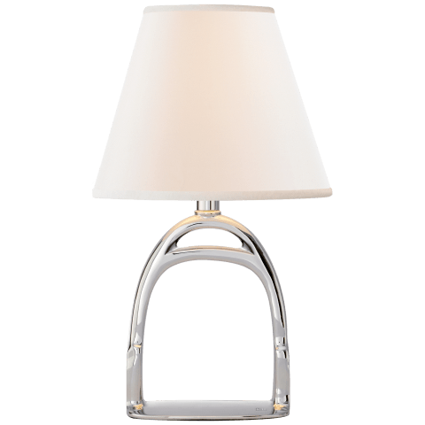 Westbury Accent Lamp in Polished Nickel with Linen Shade
