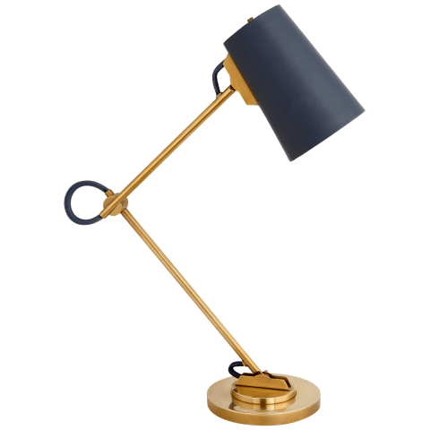 Benton Adjustable Desk Lamp in Natural Brass with Navy Leather Shade