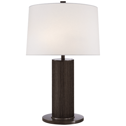 Beckford Table Lamp in Bronze with Linen Shade