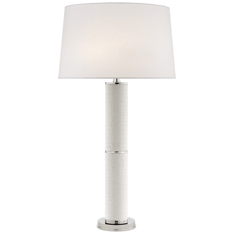 Upper Fifth Table Lamp in Ivory Croc and Polished Nickel with Silk Shade