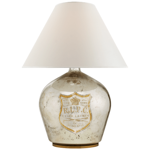 Claudette Medium Table Lamp in Mercury Glass with Percale Shade
