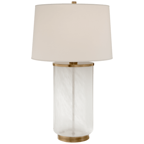 Linden Table Lamp in Natural Brass and White Strie Glass with Percale Shade