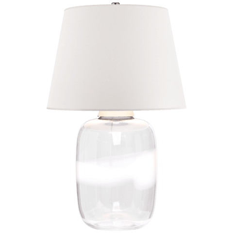 Adela Large Table Lamp in Clear and White Glass with White Paper Shade