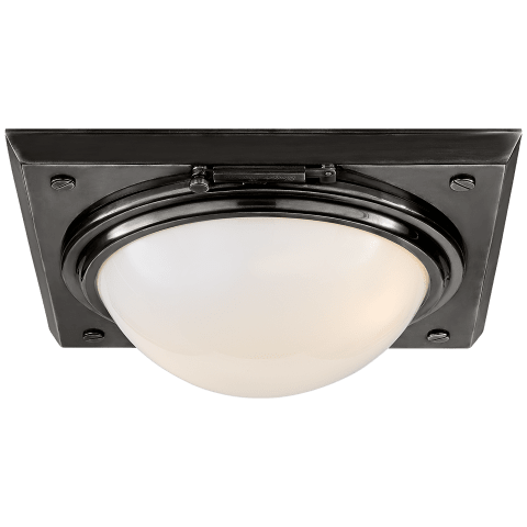 Wainscott Medium Flush Mount in Bronze with White Glass