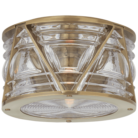 Chatham Small Flush Mount in Natural Brass with Clear Glass