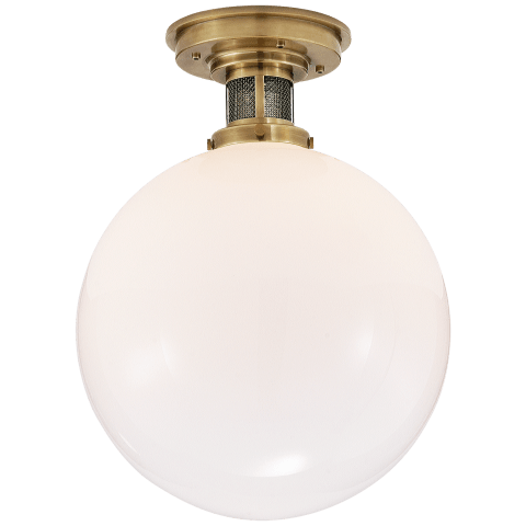 McCarren Medium Flush Mount in Natural Brass with White Glass