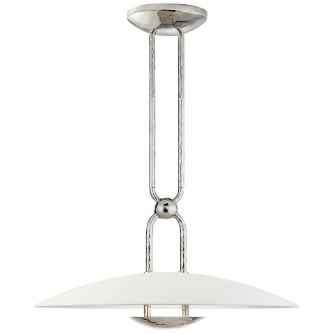 Cara Small Sculpted Pendant in Polished Nickel with Plaster White Shade