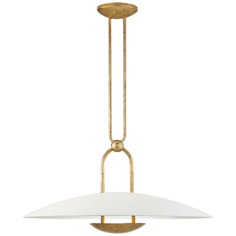 Cara Medium Sculpted Pendant in Natural Brass with Plaster White Shade