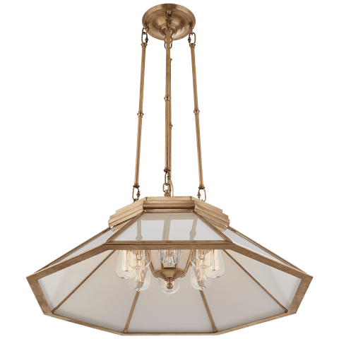 Rivington Medium Eight-Paneled Chandelier in Natural Brass with White Glass
