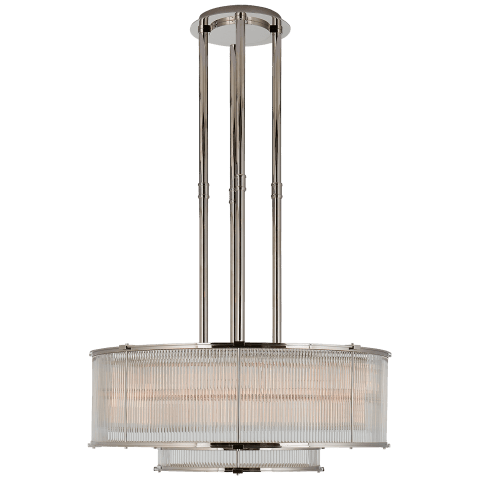 Allen Large Tiered Chandelier in Polished Nickel and Glass Rods
