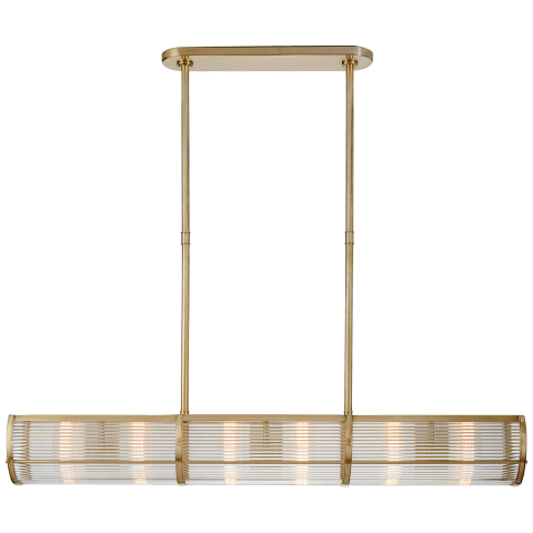 Allen Medium Linear Pendant in Natural Brass and Glass Rods