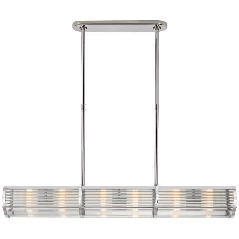 Allen Medium Linear Pendant in Polished Nickel and Glass Rods
