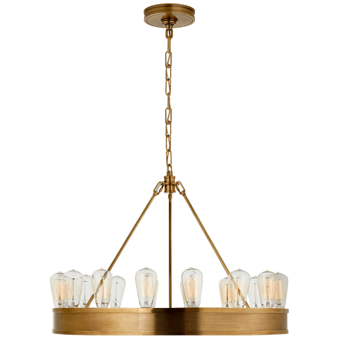 "Roark 30"" Modular Ring Chandelier in Natural Brass"