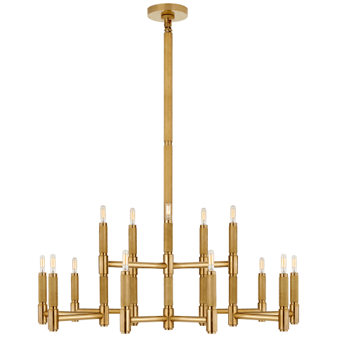Barrett Large Knurled Chandelier in Natural Brass
