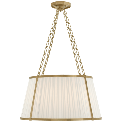 Windsor Large Hanging Shade in Natural Brass with Boxpleat Silk Shade