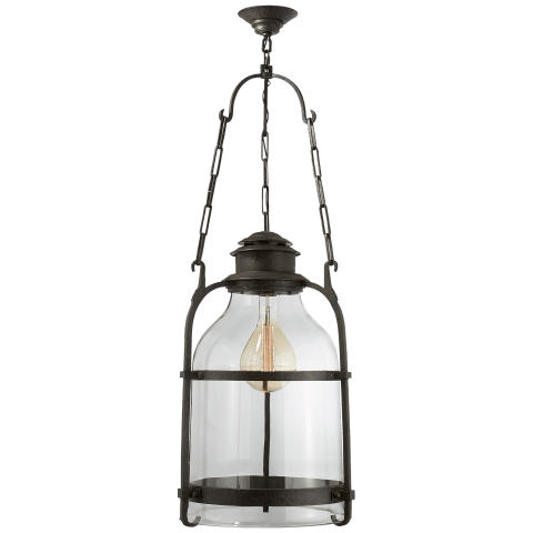 Cheyenne Medium Lantern in Aged Iron with Clear Glass