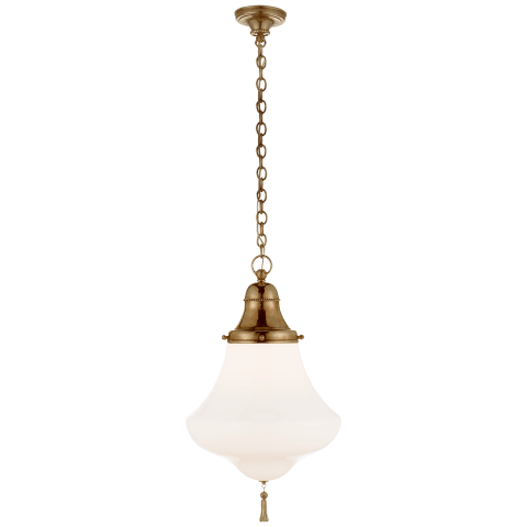 Xavier Small Pendant in Natural Brass with White Glass