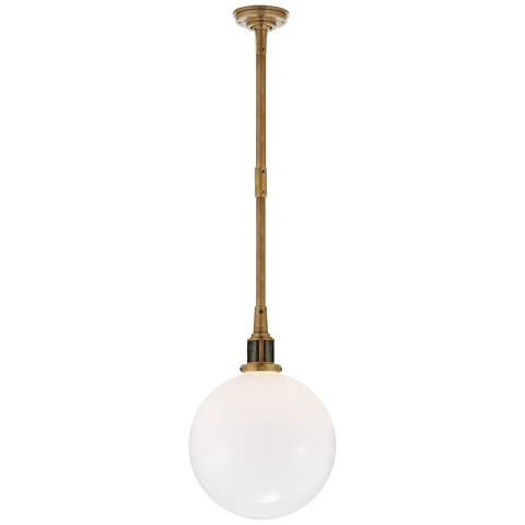 McCarren Small Globe Pendant in Natural Brass with White Glass