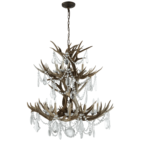 Straton Double Tier Chandelier in Natural Bone with Antiqued Crystal