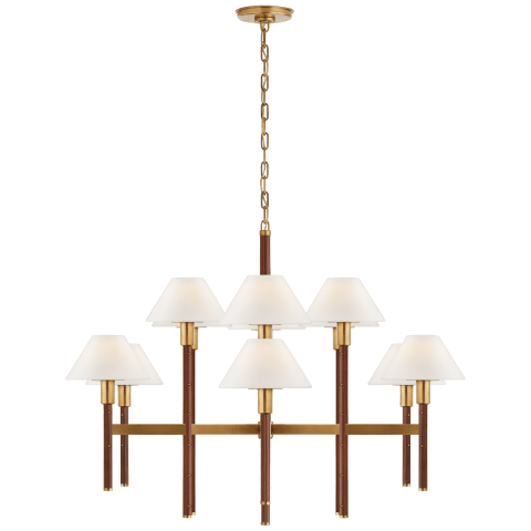 Radford Large Two Tier Chandelier in Natural Brass and Natural Rift Oak with Linen Shades
