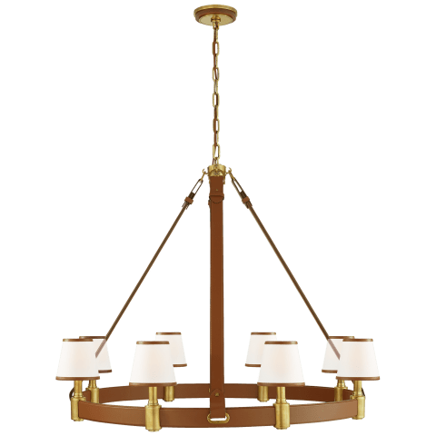 Riley Large Ring Chandelier in Natural Brass and Saddle Leather with Leather Trimmed Linen Shades