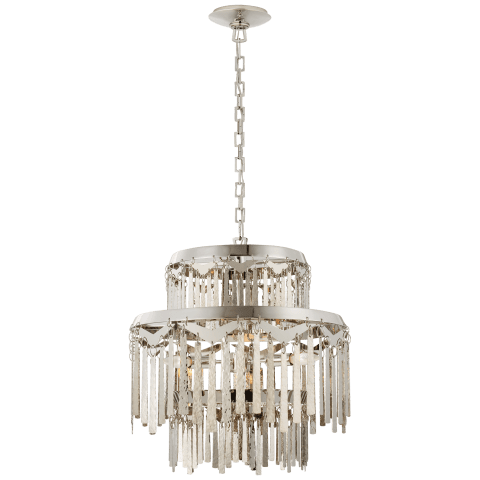 Natalie Medium Tiered Chandelier in Polished Nickel