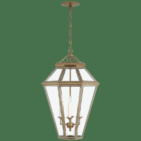 Edmund Medium Lantern in Natural Brass with Clear Beveled Glass