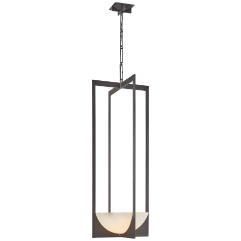 Michaela Small Elongated Chandelier in Aged Iron and Alabaster