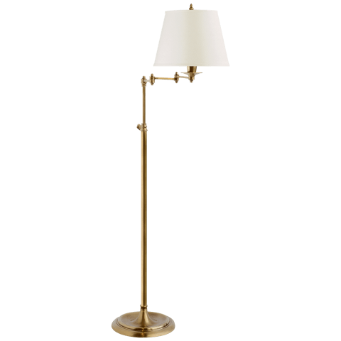 Triple Swing Arm Floor Lamp in Hand-Rubbed Antique Brass with Linen Shade