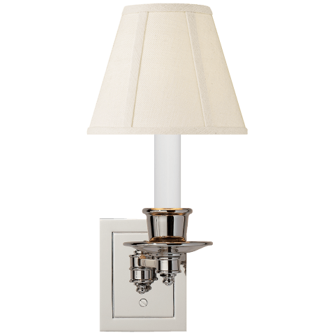 Single Swing Arm Sconce in Polished Nickel with Linen Shade