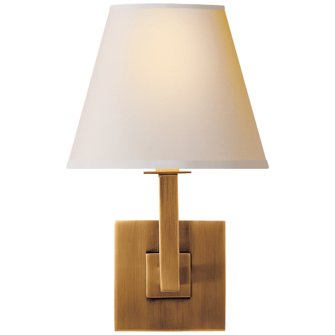 Architectural Wall Sconce in Hand-Rubbed Antique Brass with Square Natural Paper Shade
