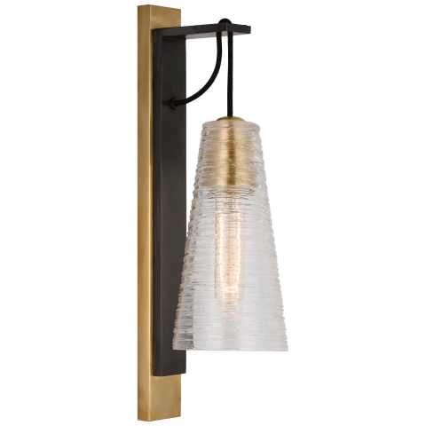Reve Medium Conical Sconce in Bronze and Soft Brass with Clear Ribbon Glass