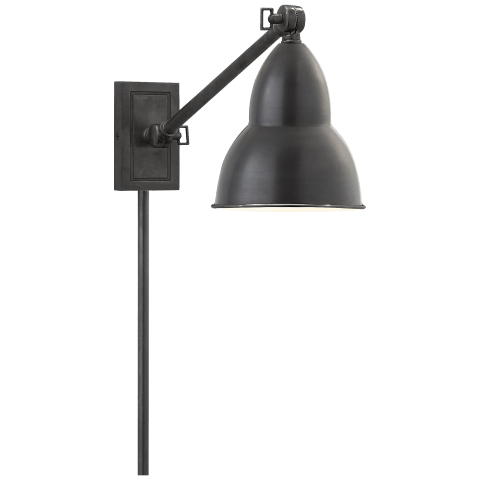 French Library Single Arm Wall Lamp in Bronze