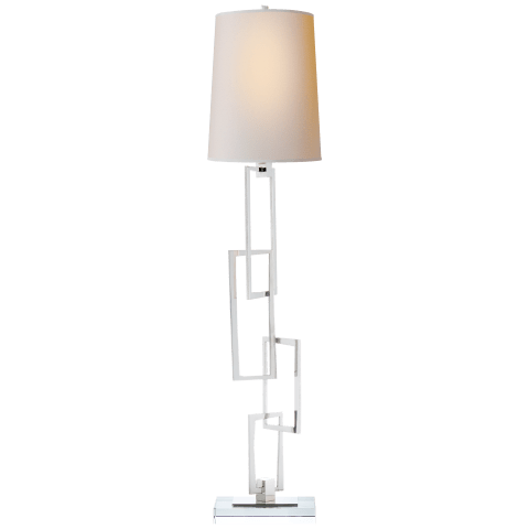 Cooper Buffet Lamp in Polished Nickel with Natural Paper Shade