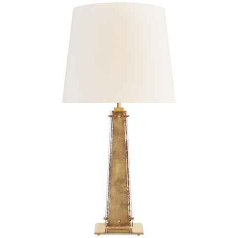 Cadence Large Table Lamp in Hand-Rubbed Antique Brass and Antique Mirror with Linen Shade