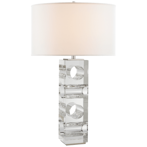 Faro Large Table Lamp in Crystal and Polished Nickel with Linen Shade