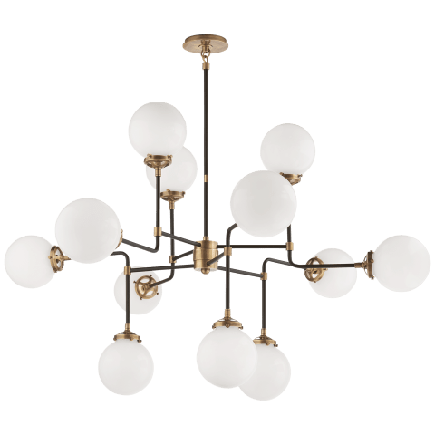 Bistro Medium Chandelier in Hand-Rubbed Antique Brass with White Glass