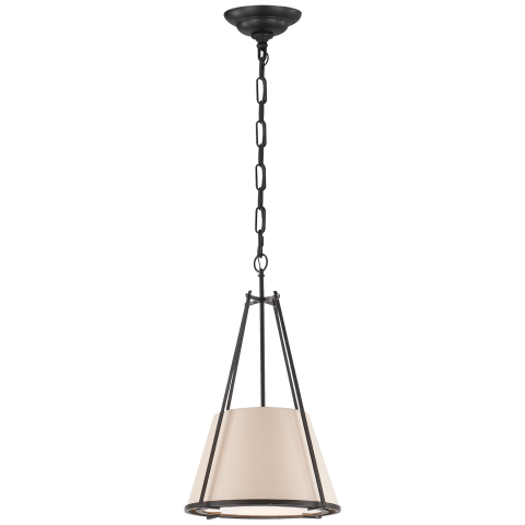 Aspen Small Conical Hanging Shade in Black Rust with Natural Paper Shade